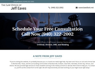 Are you searching for up-to-date information about the Eaves, Jeff law firm  situated in Texas? Below are both positive and negative reviews from  existing ...